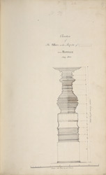 Drawing of a temple column. 'Elevation of the Pillars in the Pagoda of [ ] near Honnelly July 1800